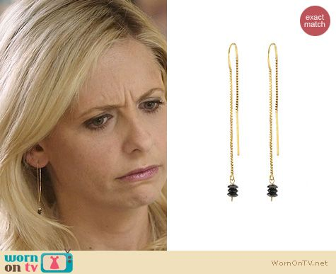 The Crazy Ones Jewelry: Peggy Li Black Diamond Threaded Earrings worn by Sarah Michelle Gellar