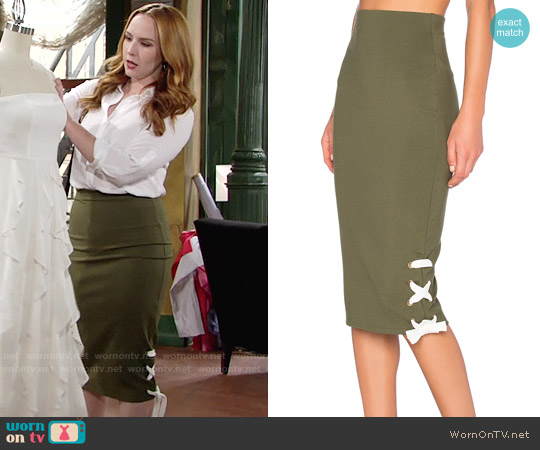 The Fifth Label Late Night Skirt in Olive worn by Camryn Grimes on The Young & the Restless