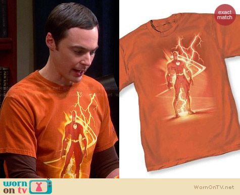 The Flash III lightning by Michael Turner Tshirt worn by Jim Parsons on The Big Bang Theory