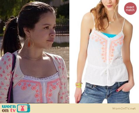 The Fosters Fashion: Aeropostale neon embroidered cardigan worn by Cierra Ramirez