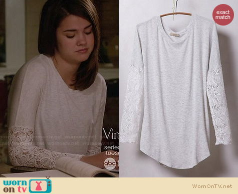 The Fosters Fashion: Anthropologie lace sleeved scoopneck tee worn by Maia Mitchell