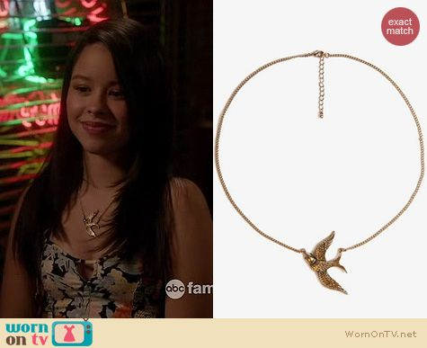 The Fosters Style: Forever 21 Etched Bird Necklace worn by Cierra Ramirez