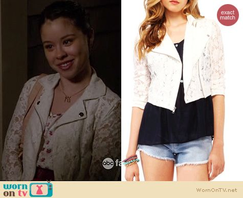 The Fosters Fashion: Forever 21 Lace Cropped Moto jacket worn by Cierra Ramirez