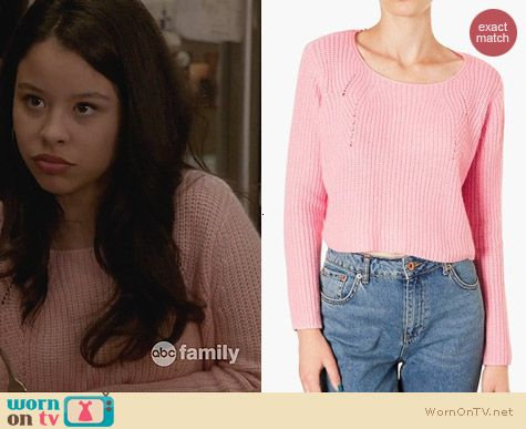 The Fosters Fashion: Topshop Ribbed Cropped Sweater in Pink worn by Cierra Ramiriez