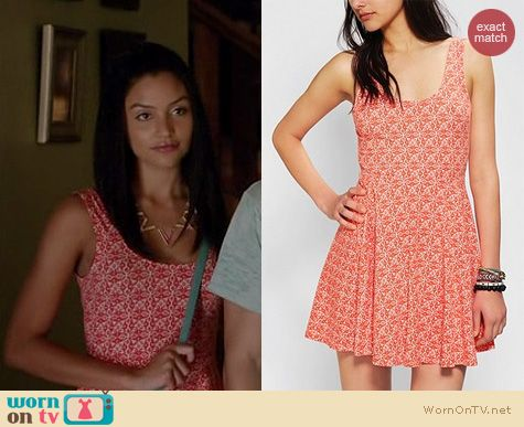The Fosters Fashion: Urban Outfitters Ecote Boho Print skater dress worn by Bianca Santos