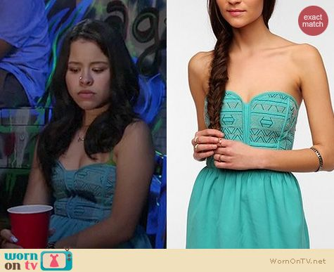 The Fosters Fashion: Urban Outfitters embroidered strapless dress by Staring at Stars worn by Cierra Rameriz