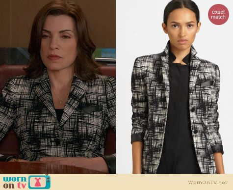 The Good Wife Fashion: Akris Punto Printed Leather Blazer worn by Julianna Margulies