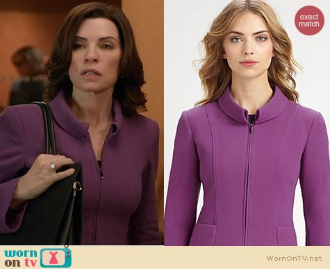 The Good Wife Fashion: Armani Purple zip jacket worn by Julianna Margulies