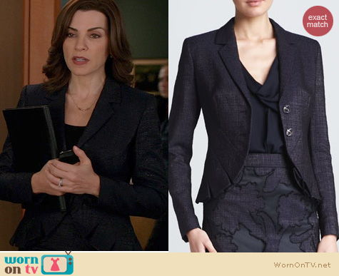 The Good Wife Fashion: Escada Pleated Cutaway Jacket worn by Julianna Margulies