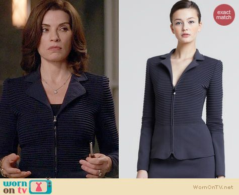The Good Wife Fashion: Giorgio Armani Ottoman Ribbed Zip Front Jacket worn by Julianna Margulies