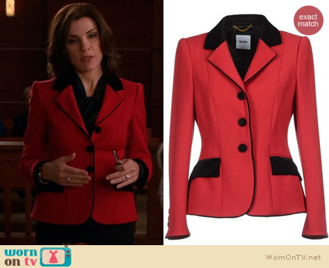 Fashion of The Good Wife: Moschino red blazer worn by Alicia Florrick
