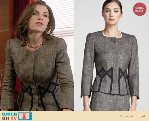 The Good Wife Fashion: Rena Lange Geometric Inset Tweed Jacket worn by Julianna Margulies