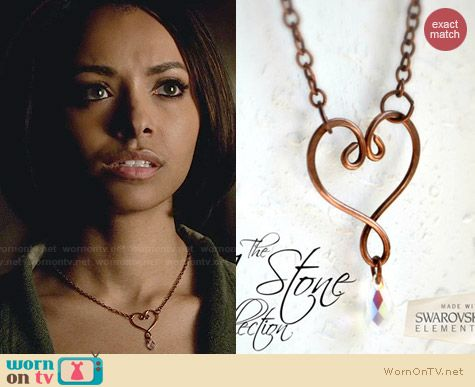 The J Stone Collection Heart Necklace worn by Kat Graham on The Vampire Diaries
