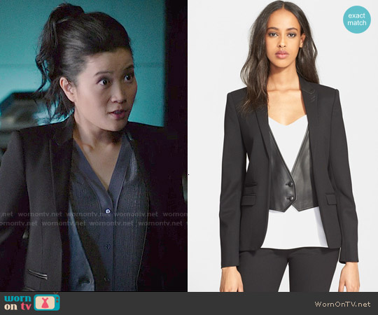 The Kooples Leather Trim Stretch Wool Jacket worn by Happy Quinn on Scorpion