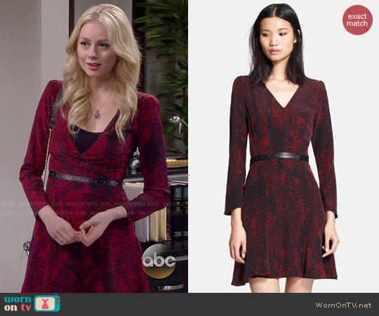 The Kooples Belted Printed Silk Dress worn by Justine Lupe on Cristela