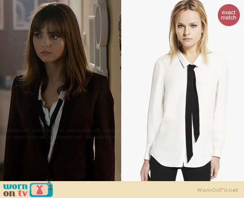 The Kooples Boyfriend Shirt with Floppy Bow worn by Jenna Coleman on Doctor Who