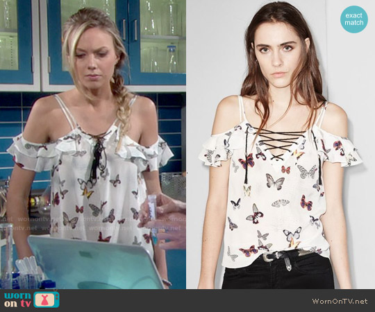 The Kooples Butterfly Print Silk Lace Up Top worn by Melissa Ordway on The Young & the Restless