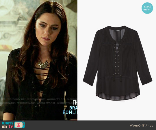 The Kooples Chiffon Lace Detail Blouse worn by Alexandra Park on The Royals