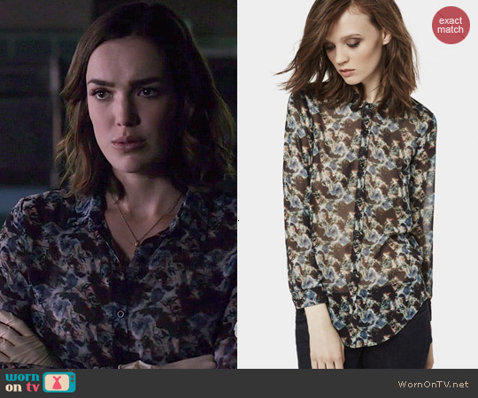The Kooples Chiffon Shirt with Flower Graphic worn by Elizabeth Henstridge on Agents of SHIELD