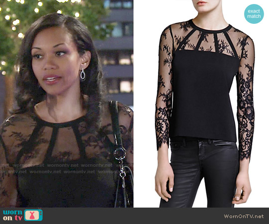 The Kooples Crepe and Lace Top worn by Mishael Morgan on The Young & the Restless