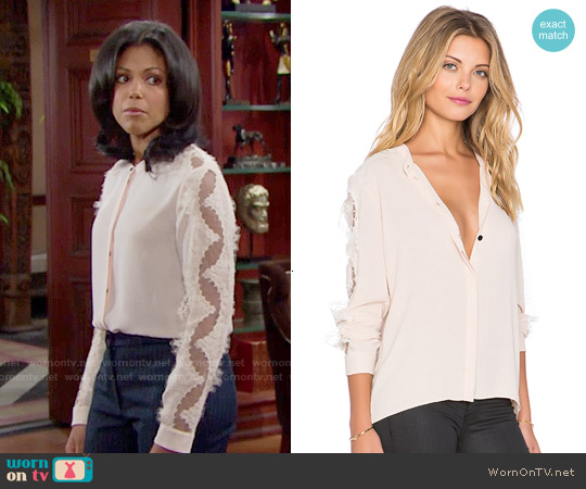 The Kooples Crepe Shirt with Lace Inserts worn by Karla Mosley on The Bold & the Beautiful