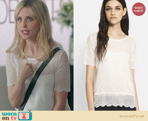 The Kooples Crocodile Embroidered top worn by Sarah Michelle Gellar on The Crazy Ones