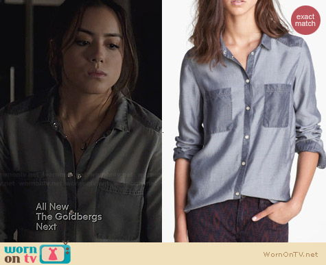 The Kooples Denim Shirt worn by Chloe Bennett on Agents of SHIELD