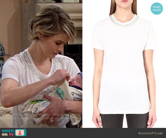 The Kooples Embellished Cotton T-shirt worn by Linsey Godfrey on The Bold & the Beautiful