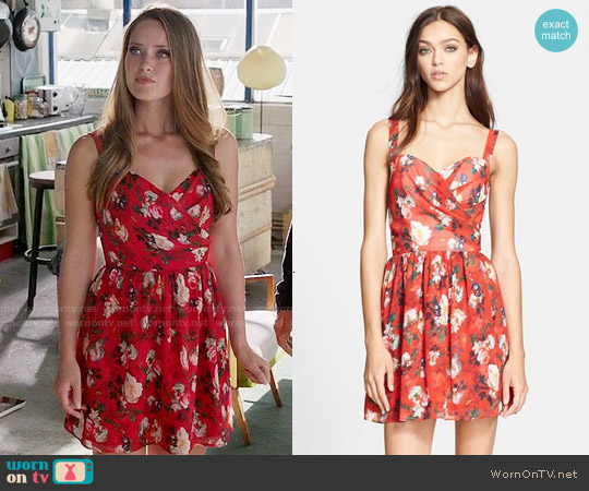 The Kooples Floral Print Chiffon Fit & Flare Dress worn by Merritt Patterson on The Royals