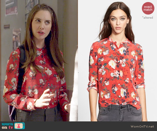 The Kooples Floral Print Silk Shirt worn by Alison Brie on Community