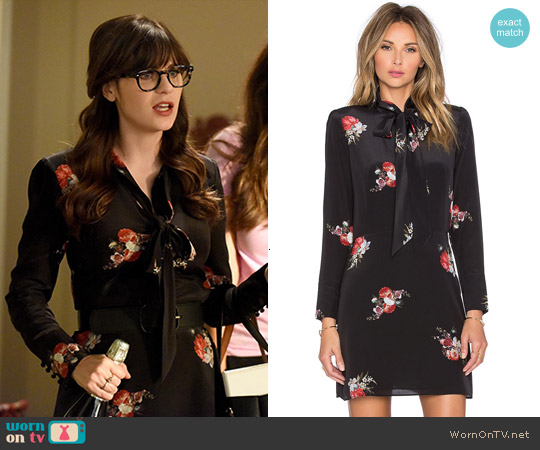 The Kooples Flower Print Dress worn by Zooey Deschanel on New Girl