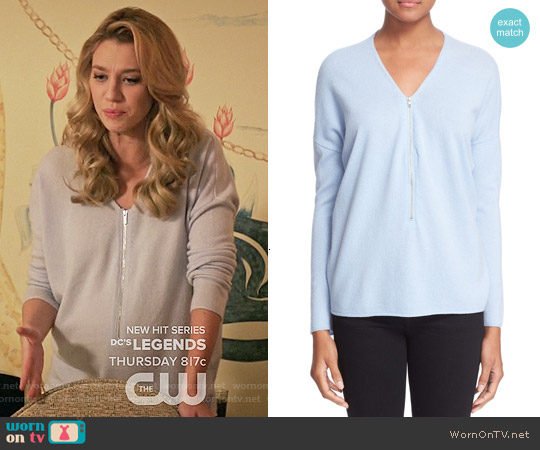 The Kooples Half Zip Wool & Cashmere Sweater in Blue Sky worn by Yael Grobglas on Jane the Virgin