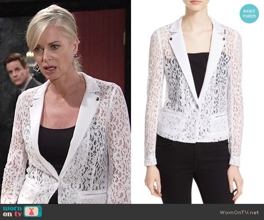 The Kooples One-Button Lace Jacket worn by Eileen Davidson on The Young & the Restless