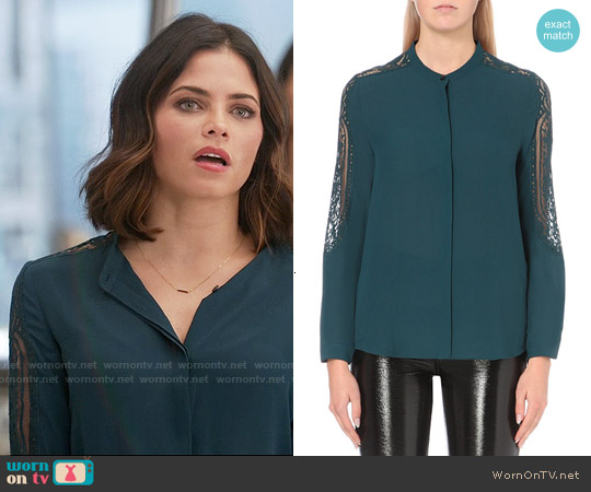 The Kooples Lace Detail Chiffon Shirt worn by Jenna Dewan Tatum on Supergirl
