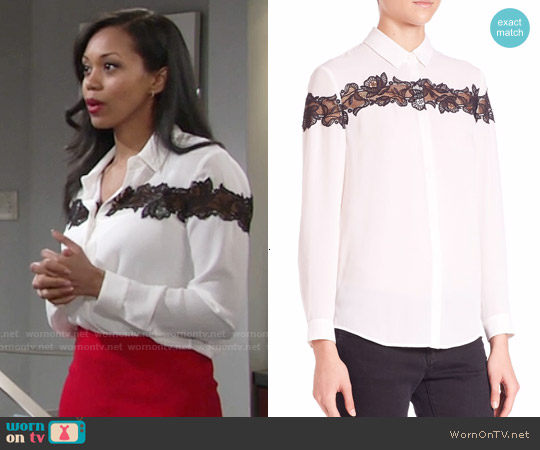 The Kooples Lace Detail Shirt worn by Mishael Morgan on The Young & the Restless