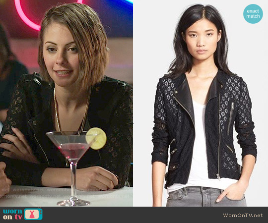 The Kooples Lace & Leather Jacket worn by Willa Holland on Arrow