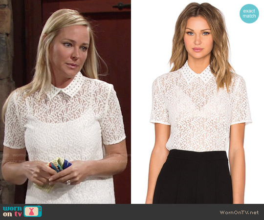 The Kooples Lace Short Sleeve Polo Top worn by Sharon Case on The Young & the Restless