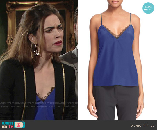 The Kooples Lace Trim Crêpe de Chine Camisole worn by Amelia Heinle on The Young & the Restless