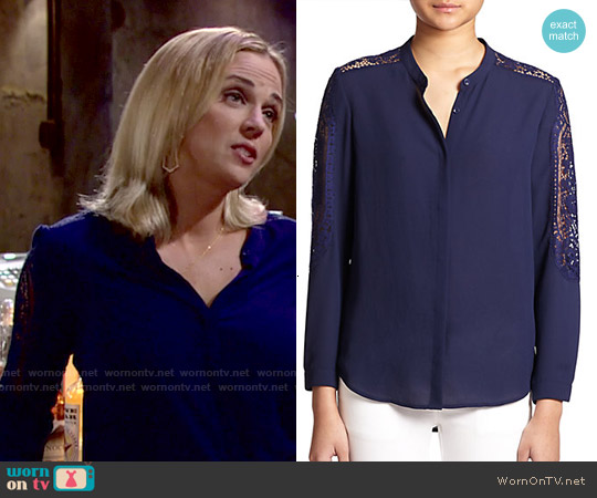 The Kooples Lace-trimmed Crepe Blouse worn by Kelly Sullivan on The Young & the Restless