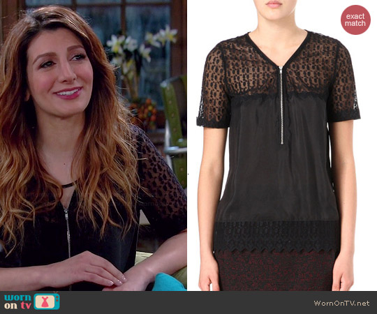 The Kooples Lace Zip Front Silk Top worn by Nasim Pedrad on Mulaney