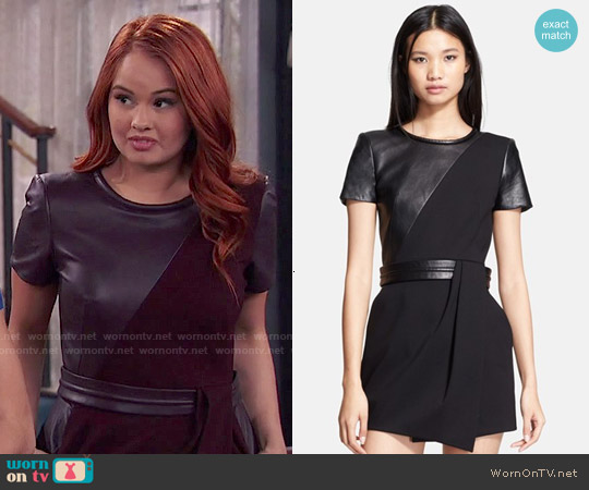 The Kooples Leather contrast Fit & Flrae Dress worn by Debby Ryan on Jessie