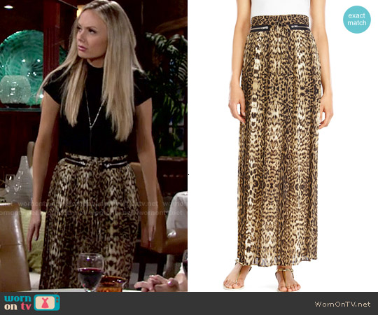 The Kooples Leopard Accordion Maxi Skirt worn by Melissa Ordway on The Young & the Restless