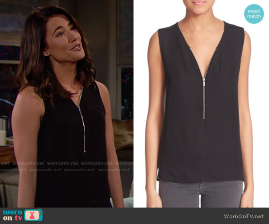 The Kooples Mixed Media Front Zip Tank worn by Jacqueline MacInnes Wood on The Bold & the Beautiful