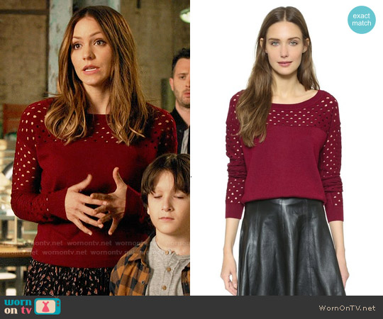 The Kooples Red Cutout Pullover worn by Katharine McPhee on Scorpion