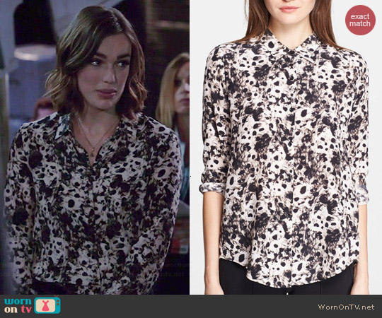 The Kooples Leopard Print Blouse worn by Elizabeth Henstridge on Agents of SHIELD