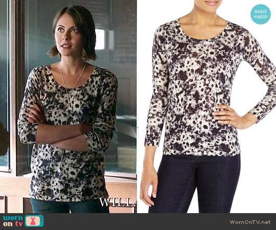 The Kooples Printed Sweater worn by Willa Holland on Arrow