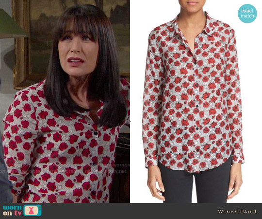 The Kooples Rose Print Cotton & Silk Shirt worn by Rena Sofer on The Bold & the Beautiful