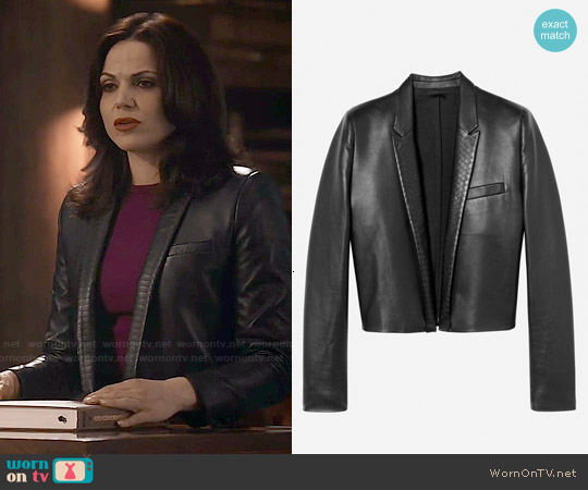 The Kooples Short Leather Jacket worn by Lana Parrilla on OUAT