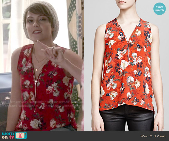 The Kooples Spring Flower Print Silk Crepe de Chine worn by Italia Ricci on Chasing Life