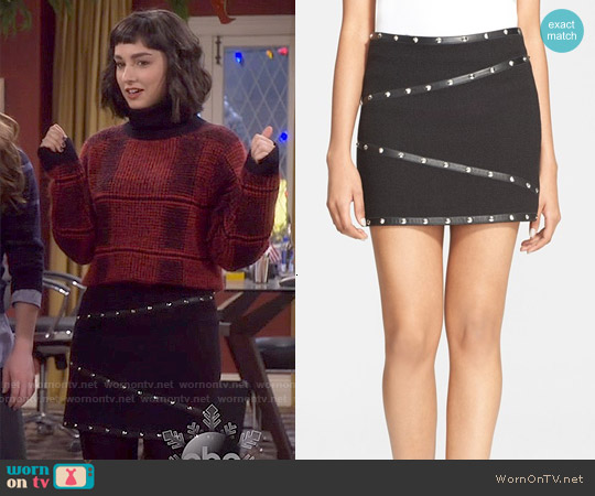 The Kooples Stud Detail Leather Trim Basket Weave Miniskirt worn by  Molly Ephraim on Last Man Standing